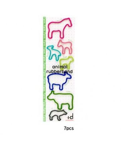 日本+d 動物橡皮筋袋裝(7只)-農場
