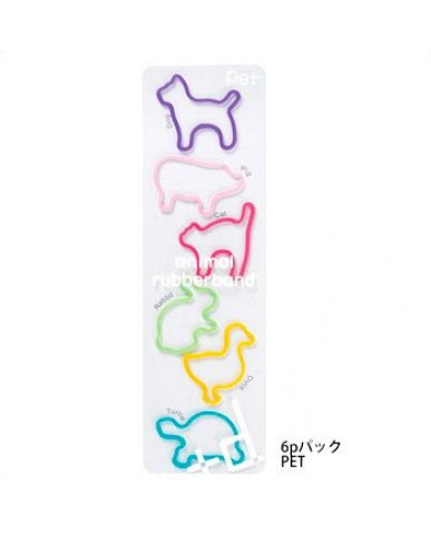 日本+d 動物橡皮筋袋裝(6只)-寵物