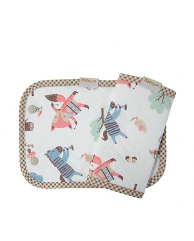 韓國Babyan 100% 純棉 背巾口水巾  厚款動物樂園(兩側)