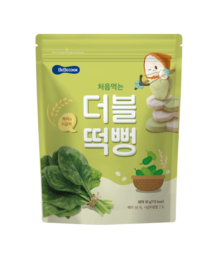 【BEBECOOK】寶膳 嬰幼兒雙色初食綿綿米餅-白米菠菜(30g)