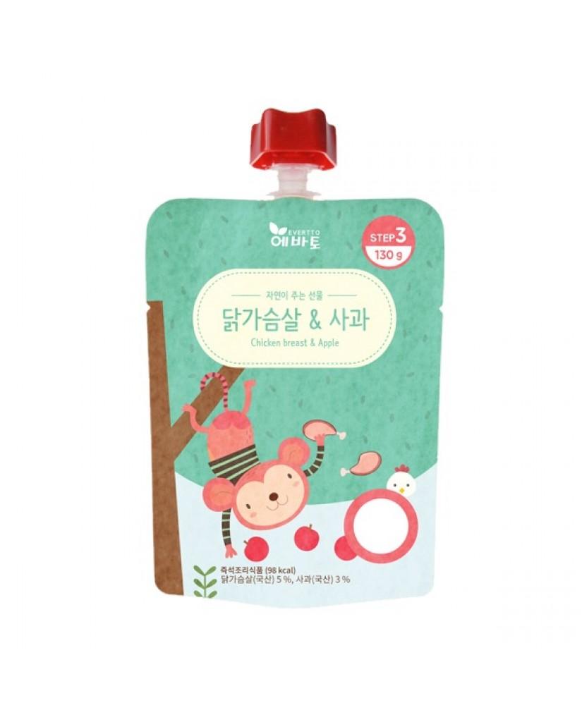 韓國 Evertto 愛兒多 嬰幼兒即食粥- 雞肉蘋果(9m+) 130g