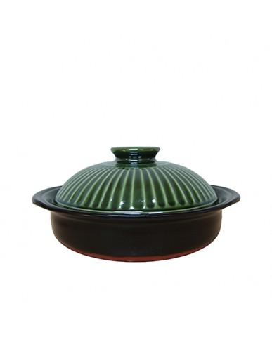 日本 萬古燒 菊花8號砂鍋-織部釉