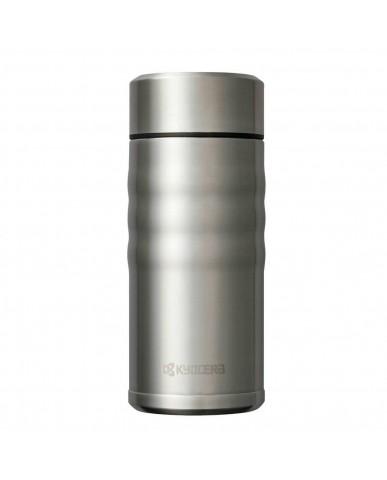 日本Kyocera 陶瓷塗層旋蓋式保溫杯350ml-科技銀