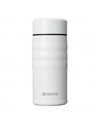 日本Kyocera 陶瓷塗層旋蓋式保溫杯350ml-鋼琴白
