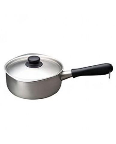 日本 柳宗理 不鏽鋼單手鍋18cm(附蓋)-霧面