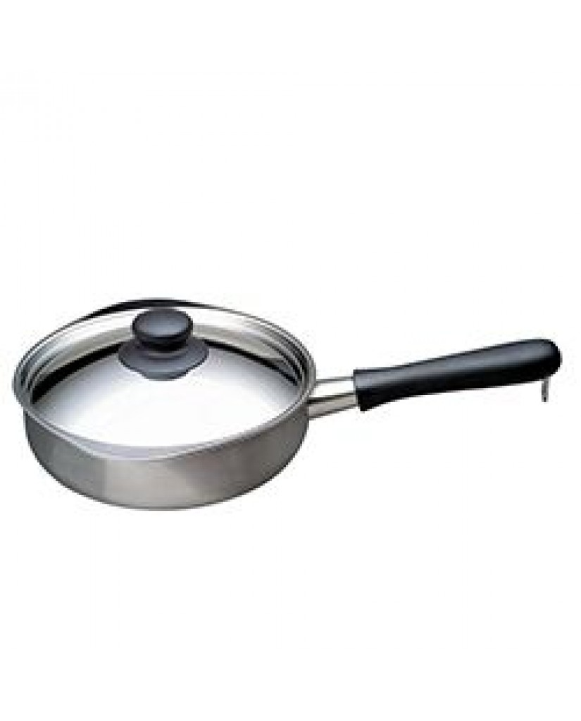 日本 柳宗理 不鏽鋼單手鍋22cm(附蓋)-亮面