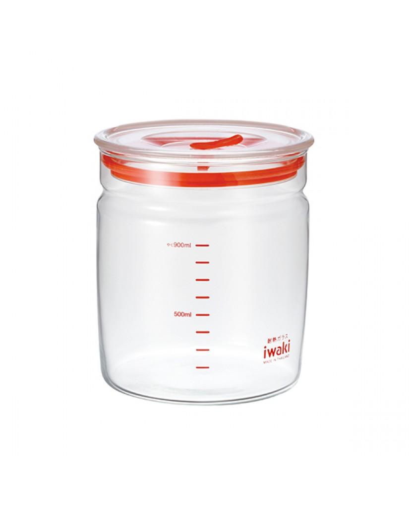日本iwaki 耐熱玻璃微波密封罐1L