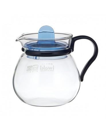 日本iwaki 耐熱玻璃經典茶壺400ml (藍)