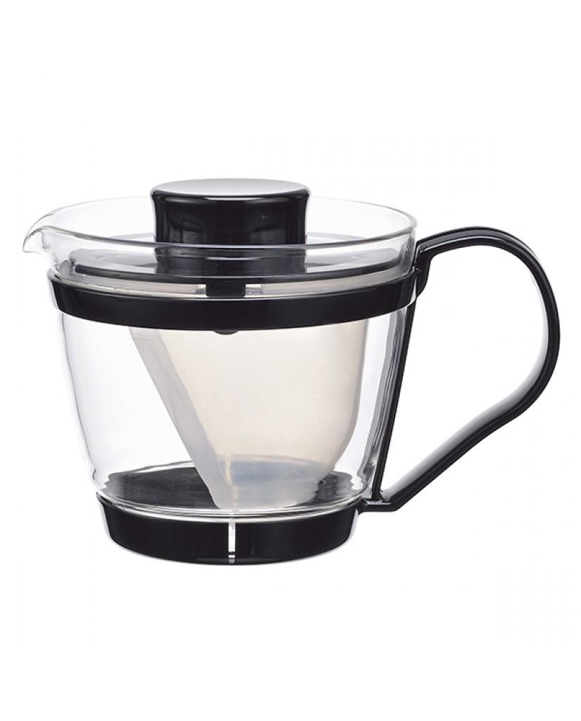日本iwaki 耐熱玻璃新款茶壺400ml (黑)