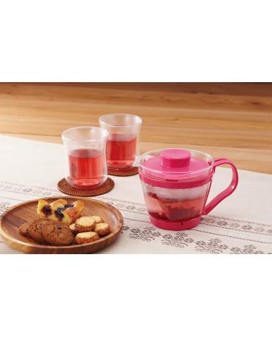 日本iwaki 耐熱玻璃新款茶壺400ml (粉)