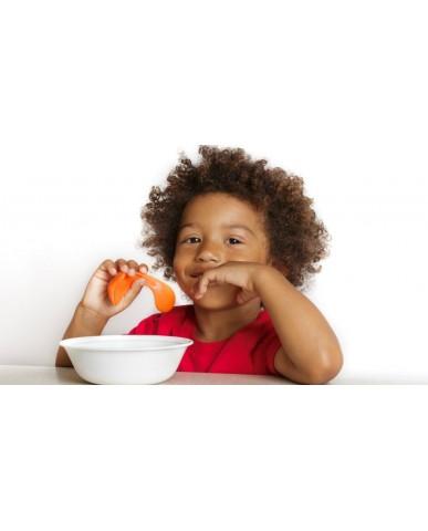 美國Kizingo 幼兒學習曲線湯匙(右手版)-腕豆綠