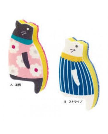 日本MARNA 小貓造型立式海綿(藍線條)