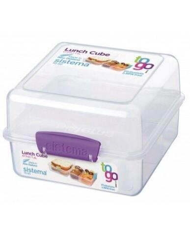 紐西蘭sistema 外帶雙層保鮮盒1.4L-紫