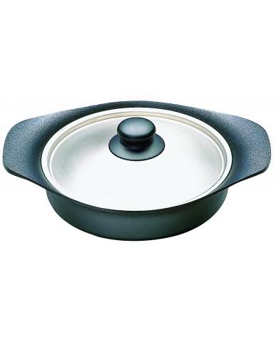 日本 柳宗理 南部鐵器雙耳淺鍋22cm-附不鏽鋼蓋