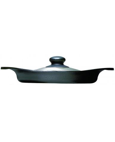日本 柳宗理 南部鐵器橫紋煎盤 22cm-附不鏽鋼蓋