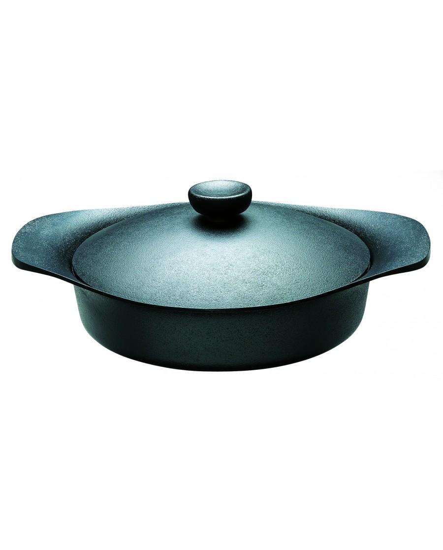 日本 柳宗理 南部鐵器雙耳淺鍋22cm-附鐵蓋和把手