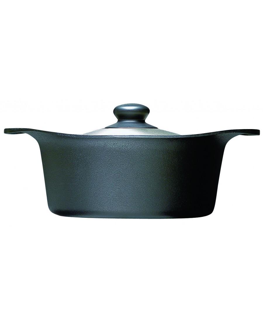 日本 柳宗理 南部鐵器雙耳深鍋22cm-附不鏽鋼蓋