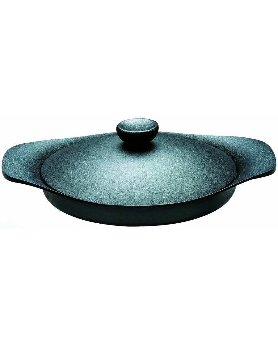 日本 柳宗理 南部鐵器橫紋煎盤 22cm-附鐵蓋和把手