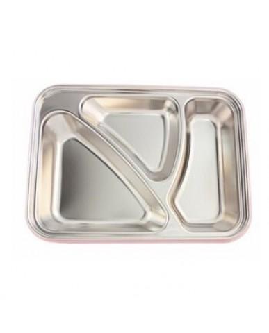 美國thinkbaby不鏽鋼餐盤組-氣質白