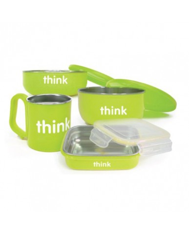 美國thinkbaby不鏽鋼餐盤組-俏皮蘋果綠